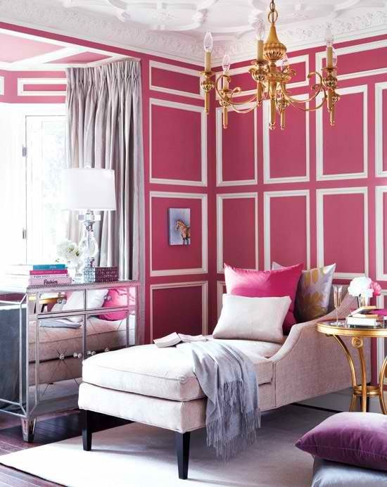 Love the mirrored furniture and the pink/white walls! and the chaise! I think the chaise might be my favorite piece of furniture.