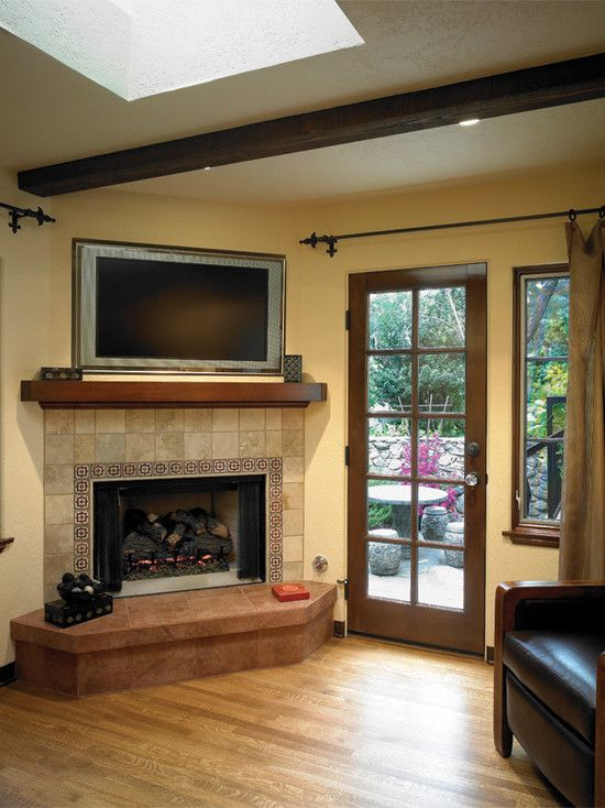 Corner Fireplace with TV Above 550 x 734