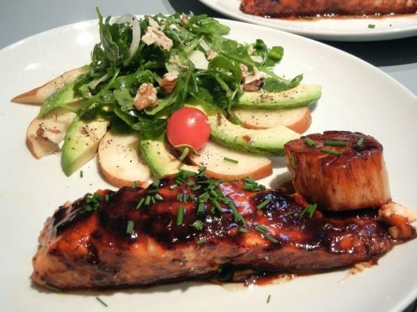 ... Honey Glazed Salmon and Scallops, with Pear, Avocado, and Walnut Salad
