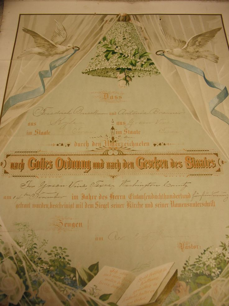 Vintage German Wedding Certificate