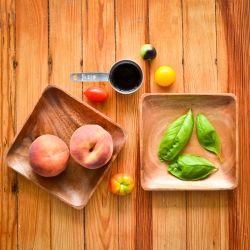 ... pizza: peaches, heirloom tomatoes, mozzarella, basil and balsamic
