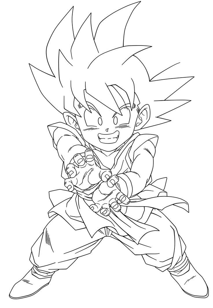 Kid Goku Gt Kamehameha Sketch Coloring Page