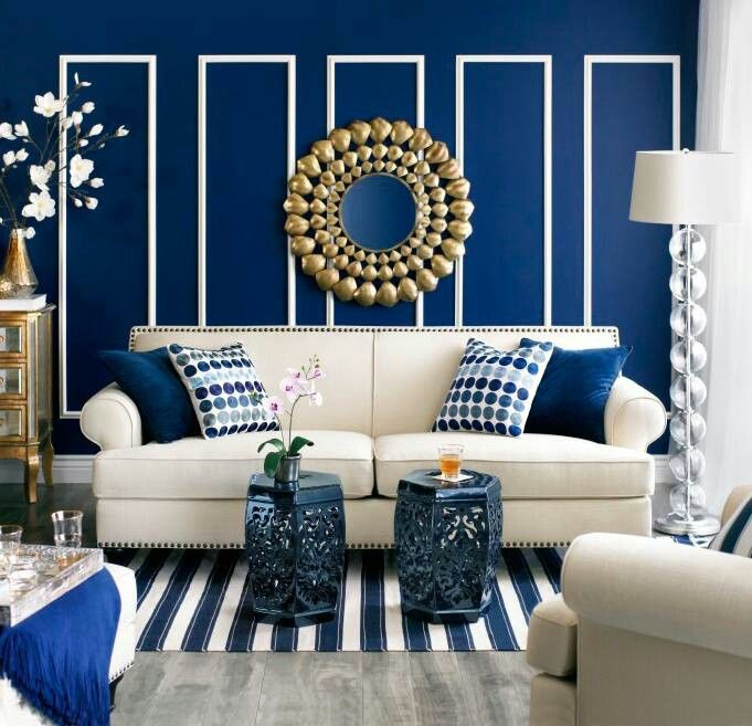 Navy Blue And White Stripes Wall Treatments Pinterest