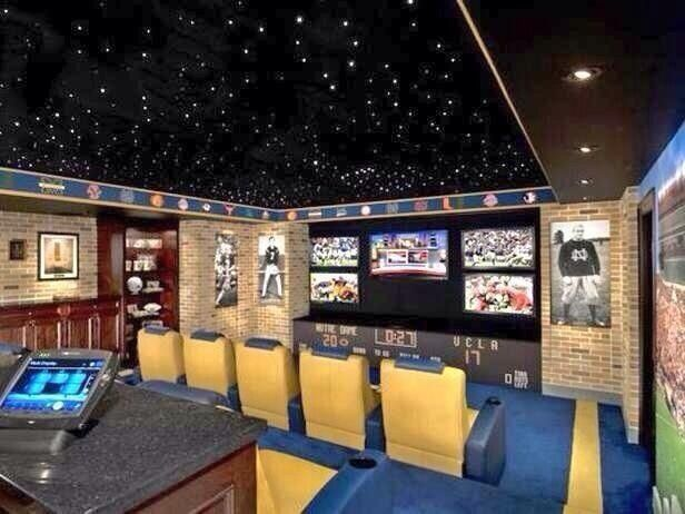 Sports watching room in basement