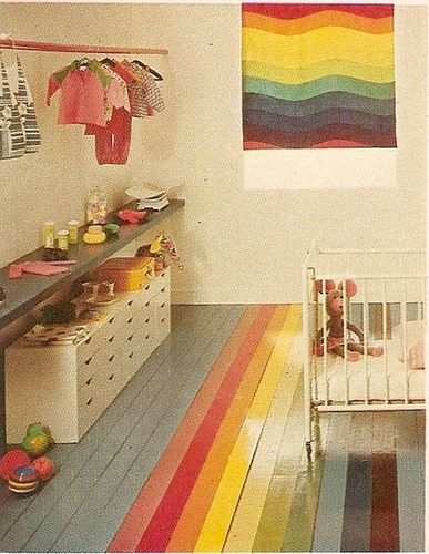Love all the color.  And all the storage.  Rainbow floor nursery, Better Homes and Gardens Decorating Ideas, 1975.