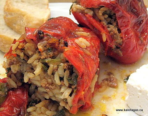 Stuffed Peppers (Piperies Gemistes) | Greek style of food | Pinterest
