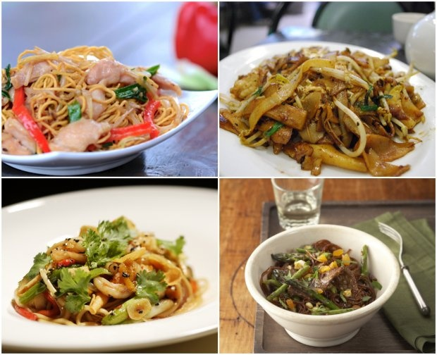 ... noodles, char kway teow, tangerine beef with glass noodles, vegetable