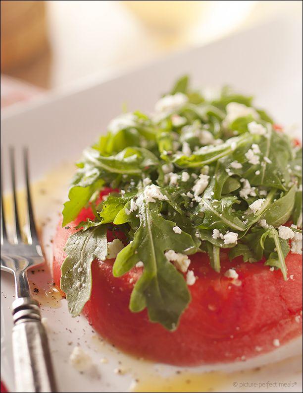 Watermelon Feta and Arugula Salad - Sweet melon, tangy feta and ...