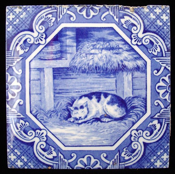 Transfer printed tile aesop fable belling the cat 1870