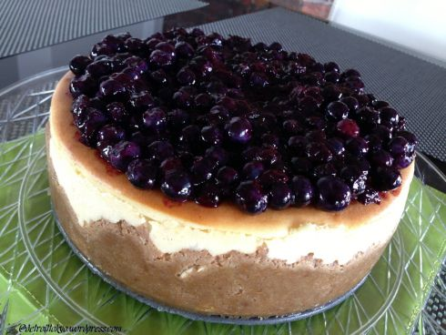 Deep Dish Lemon Soufflé Cheesecake with Blueberry Topping