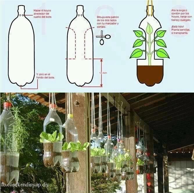pet şişeli bahçe saksıları