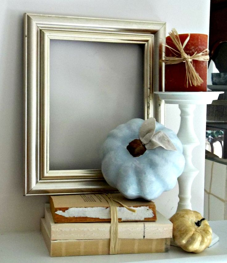 Vintage, Paint and more... gold frame with blue painted pumpkin for fall mantel