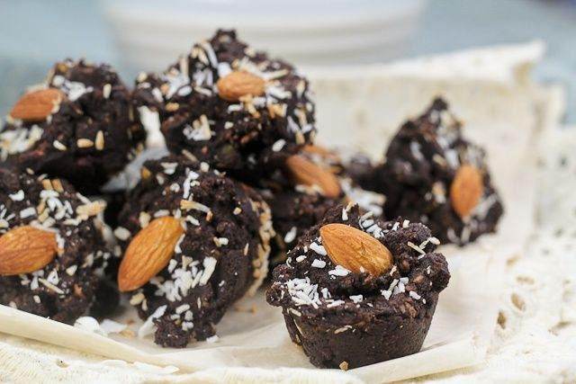 brownie bites using left-over almond pulp from home-made almond milk.
