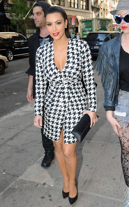 Dogtooth print dress, Kim Kardashian