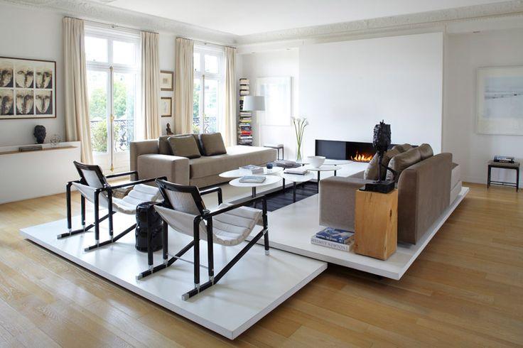 grand salon contemporain blanc et bois  Home sweet Home  Pinterest