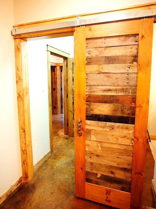 Exciting Pallet Wood For Home Decorating And Furniture : Wonderful Rustic Hall With Pallet Wood Sliding Door