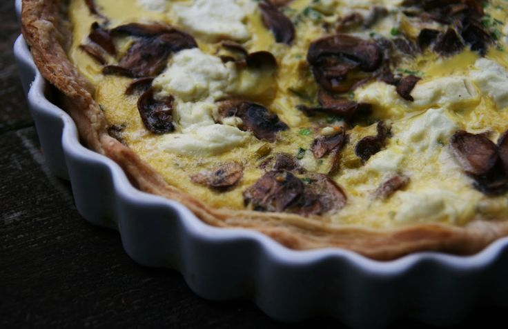 Mushroom Leek Quiche with Goat Cheese Recipe | mostly foodstuffs