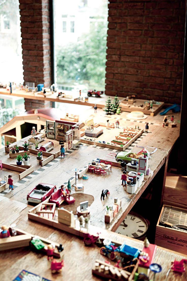 love this playroom - fabulous custom wood playmobil layout in amsterdam home