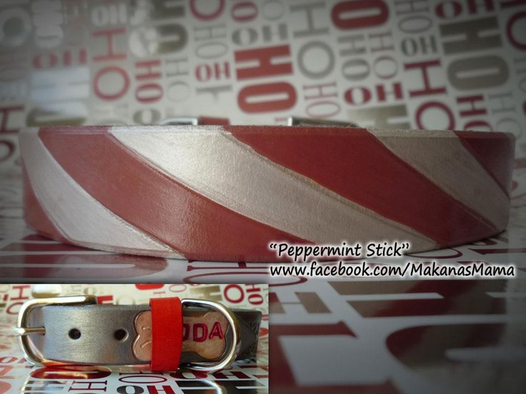 Peppermint Stick - personalized leather ID dog collar