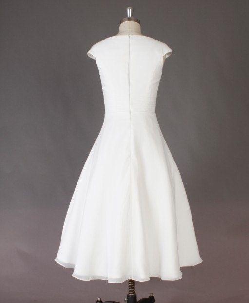 Wedding dress simple tea length : Simple ivory tea length chiffon wedding dress ball gown lovey weddi