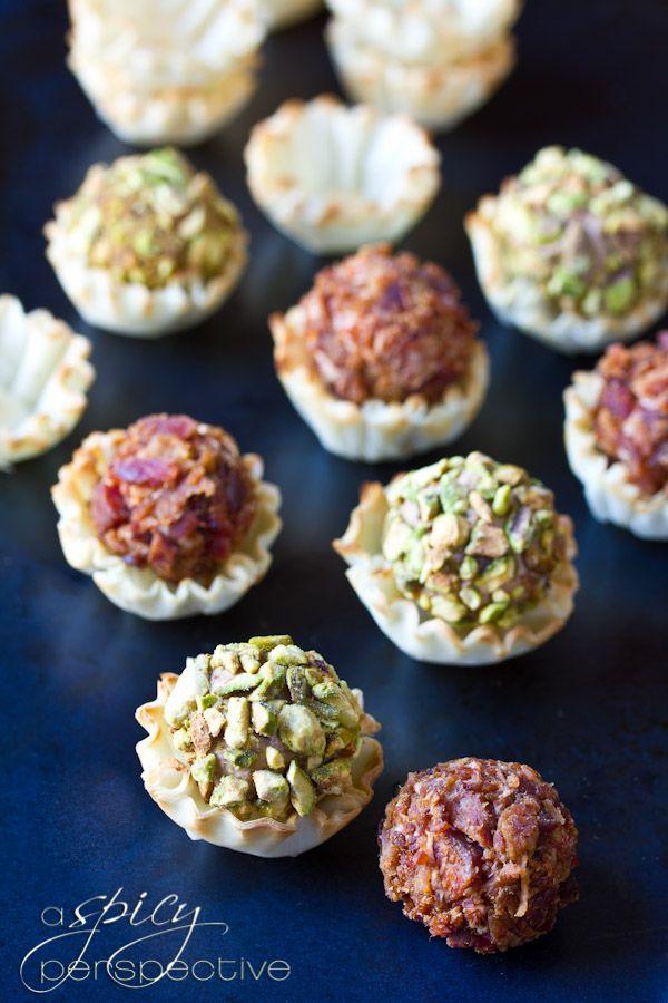 Mini Cheese Ball Recipe in Fillo Shells | ASpicyPerspective.com # ...