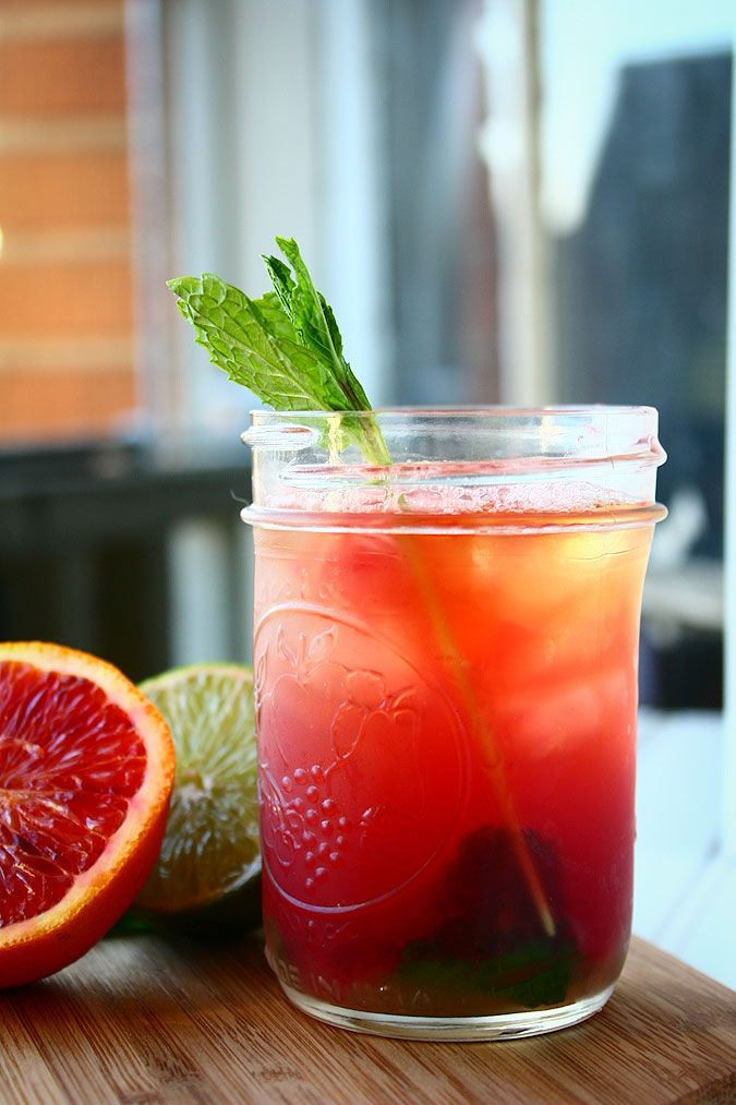 whiskey sour w. blood orange + mint.