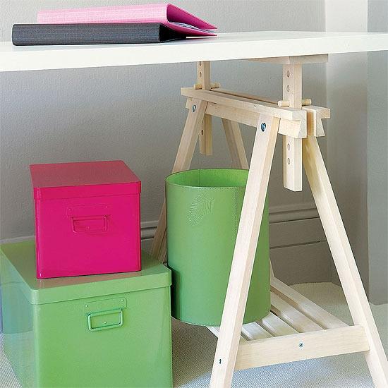 colorful under desk bins | Storage and Organization Ideas | Pinterest