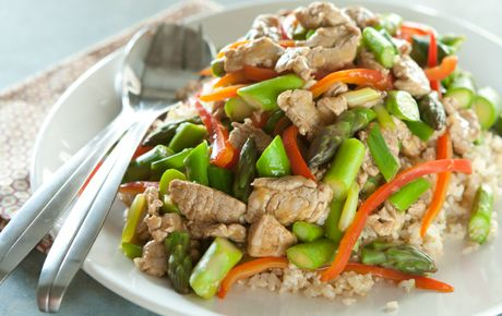 Pork Stir-Fry with Asparagus, Peppers and Green Onions | Recipe