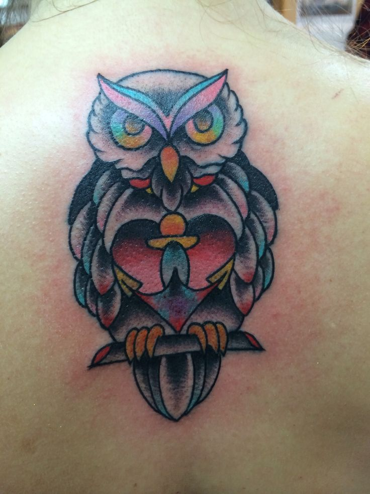 Owl heart and anchor tattoo wisdom love and hope for Owl heart tattoo