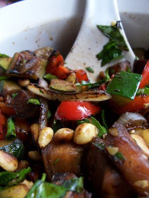 Grilled Ratatouille Salad--you can broil these veggies indoors also.