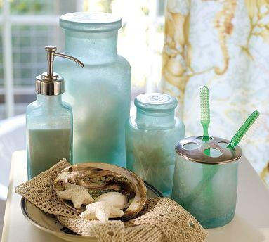 Bathroom decor pretty glass my aqua colored oasis for Aqua colored bathroom accessories