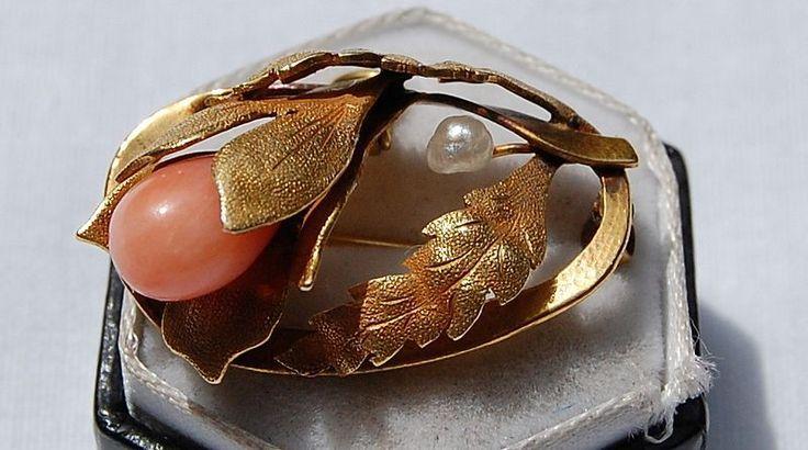 Модерна кожа ангела Coral And Перл Подвеска / Брошь с прекрасным Измельчитель Прикладная Листья и каскадные Flower Bud, смонтированных в 14K желтое золото