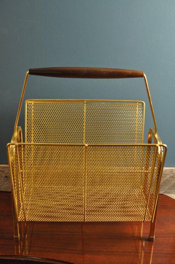 Vintage Brass Log Holder Magazine Rack Fireplace Mod Accessory