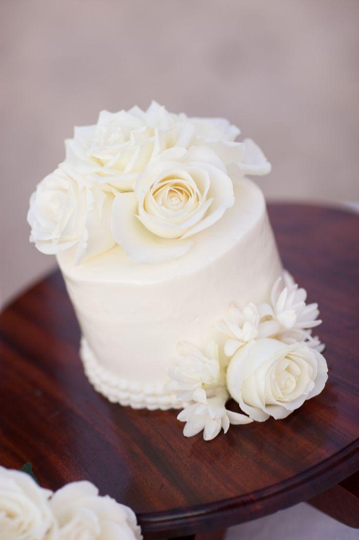 Single Tier All White Wedding Cake - Four Seasons Resort Hualalai Weddings