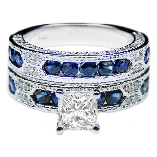 Princess Cut Diamond Vintage Engagement Ring with Blue-Sapphire ...