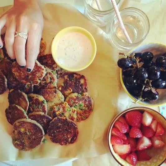 little island studios: Veggie Amaranth Fritters & Greek Yogurt Chia Sauce! #spon