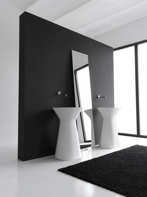 badkamer zwart wit  Badkamers  Pinterest