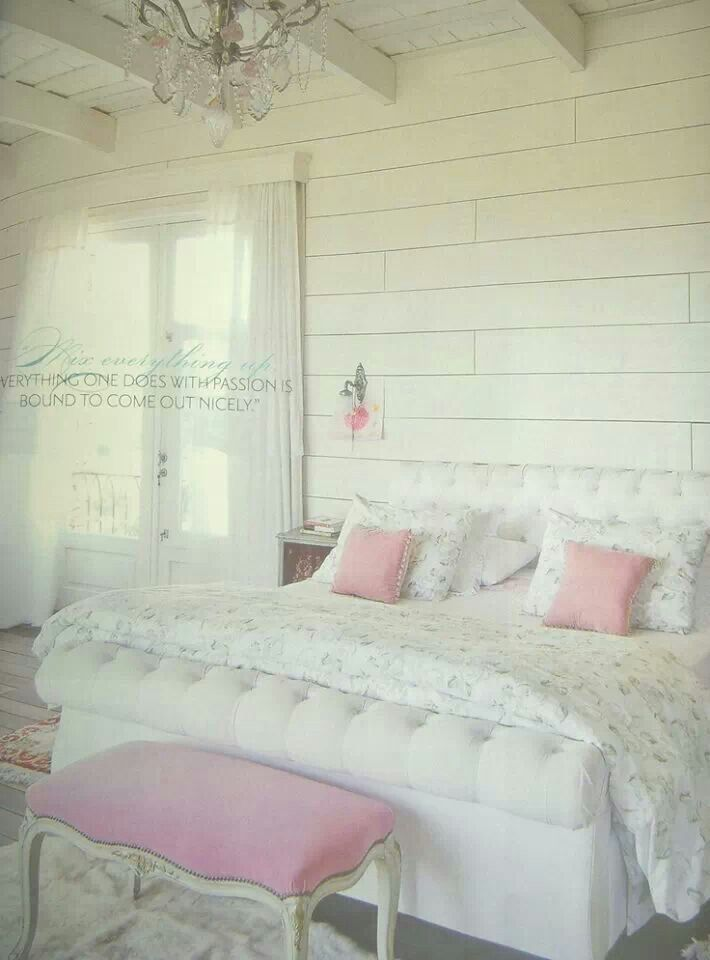 White pastel pink bedroom great spaces pinterest for Pink and white bedroom
