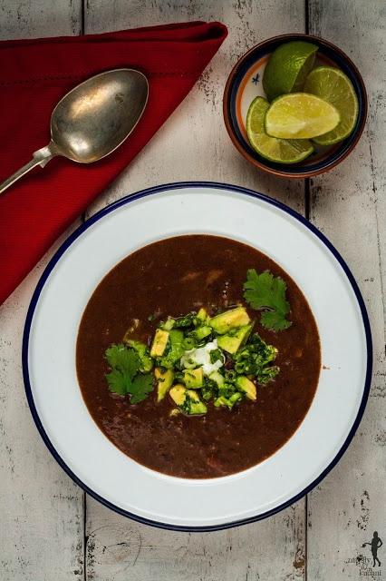 Black bean & cocoa soup with avocado salsa