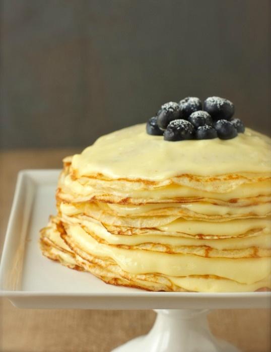 meyer lemon curd crepe cake | desserts | Pinterest