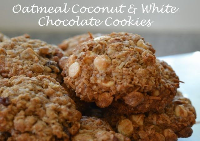 Oatmeal Coconut & White Chocolate Cookies