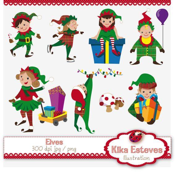 christmas elf jewelry | Christmas Elves - Digital Clipart / Scrapbook ...
