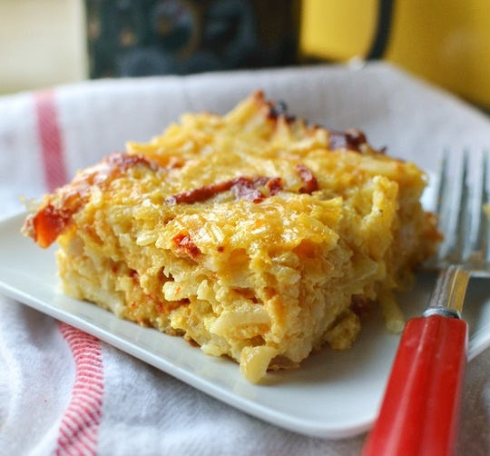 Cheesy Potato Breakfast Casserole with Cheddar and Sundried Tomatoes ...