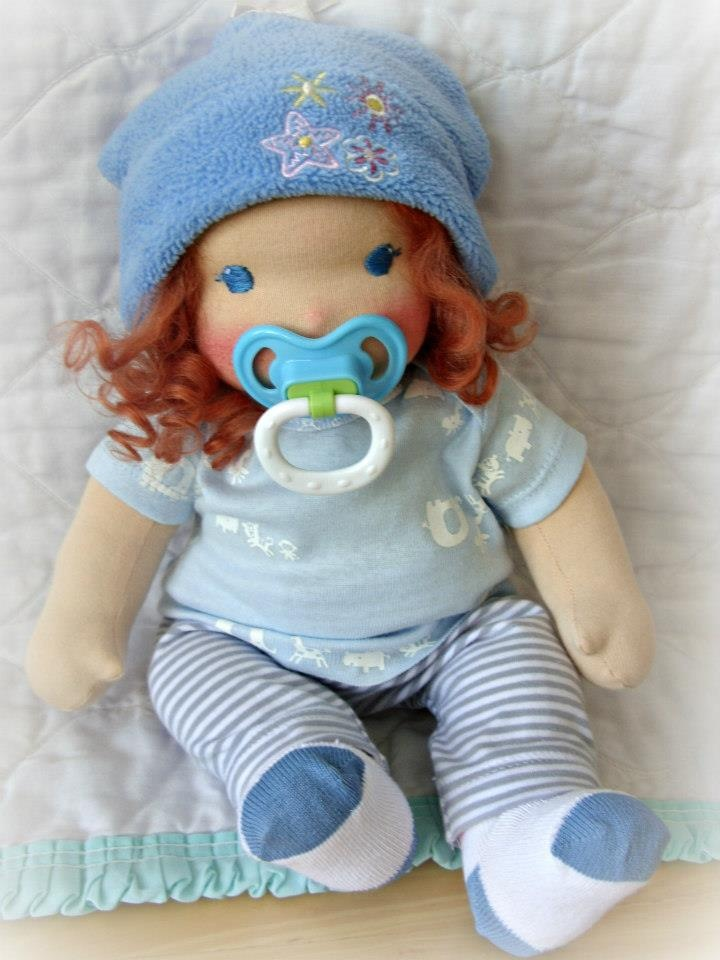 "Hedie 14"" waldorf baby doll with pacifier, mohair wig."