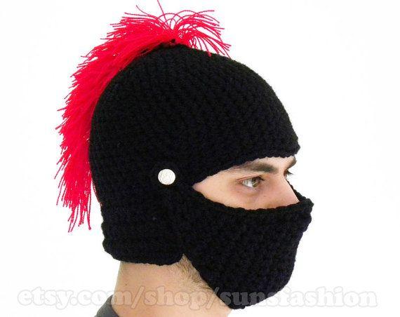 Crochet Knight Helmet : Knight Helmet Hat Crochet Slouch Mens Convertible Beanie Hat Handmade ...