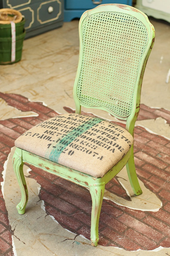 Bohemian chair granny apple green burlap coffee bag cushion wic