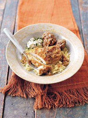 Mango chicken, with green chilli bhajis and mint yogurt dip