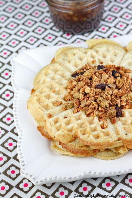 waffles with thyme infused maple syrup maple pecan granola maple pecan ...