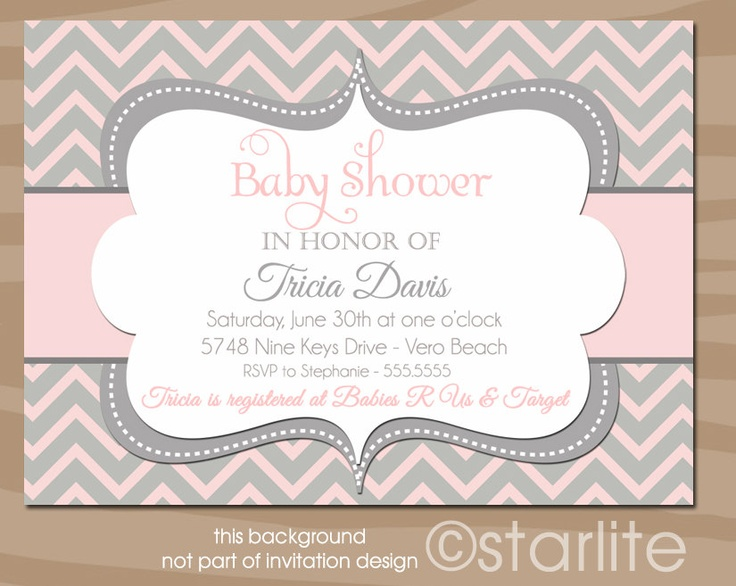 baby shower invitation baby girl shower chevron pink and