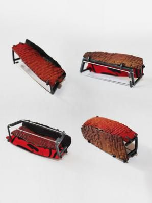 Han-Chieh Chuang - red brick brooch serie - silver, copper, enamel, steel wire